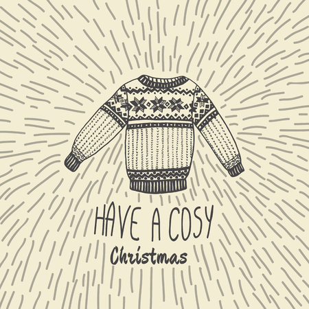cosy: Christmas vintage card with with hand drawn sweater and text Have a Cosy Christmas. Vector hand drawn illustration on beige background.