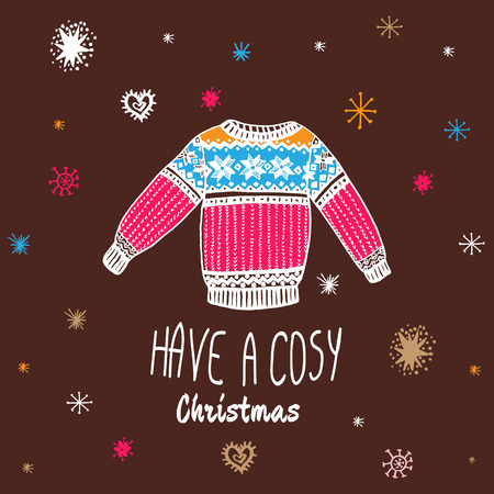 cosy: Christmas vintage card with with hand drawn sweater and text Have a Cosy Christmas. Vector hand drawn illustration on brown background.