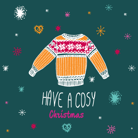 cosy: Christmas vintage card with with hand drawn sweater and text Have a Cosy Christmas. Vector hand drawn illustration on blue background. Illustration