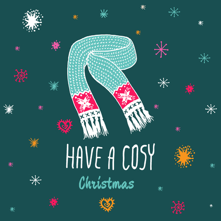 cosy: Christmas vintage card with with hand drawn knitted scarf and text Have a Cosy Christmas. Vector hand drawn illustration on blue background.