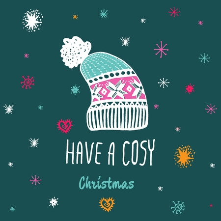 cosy: Christmas vintage card with with hand drawn knitted winter hat and text Have a Cosy Christmas. Vector hand drawn illustration on blue background.