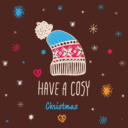 cosy: Christmas vintage card with with hand drawn knitted winter hat and text Have a Cosy Christmas. Vector hand drawn illustration on brown background. Illustration