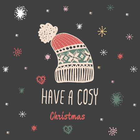 cosy: Christmas vintage card with with hand drawn knitted winter hat and text Have a Cosy Christmas. Vector hand drawn illustration on black background. Illustration