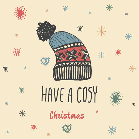 cosy: Christmas vintage card with with hand drawn knitted winter hat and text Have a Cosy Christmas. Vector hand drawn illustration on beige background.
