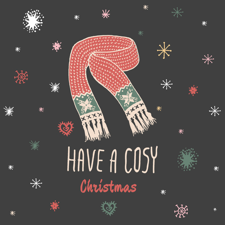 cosy: Christmas vintage card with with hand drawn knitted scarf and text Have a Cosy Christmas. Vector hand drawn illustration on black background.