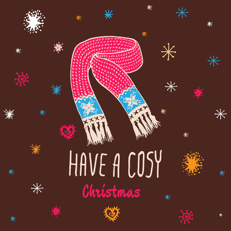 cosy: Christmas vintage card with with hand drawn knitted scarf and text Have a Cosy Christmas. Vector hand drawn illustration on brown background.