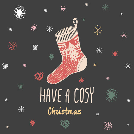 cosy: Christmas vintage card with with hand drawn knitted sock and text Have a Cosy Christmas. Vector hand drawn illustration on blue background. Illustration