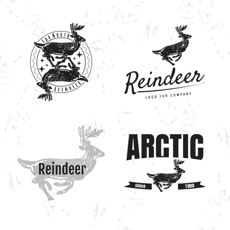 Vector black and white set with reindeer.
