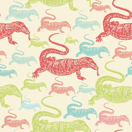 reptilian: Desert Varan colourful seamless vector pattern on beige background. Realistic engraved style.