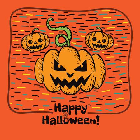 intertainment: Halloween card with hand drawn pumpkin on orange background. Vector hand drawn illustration.