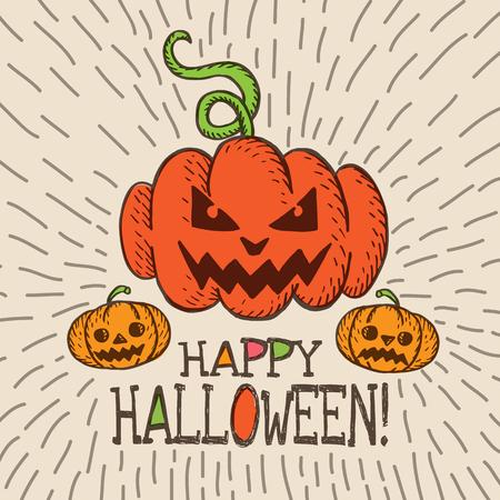 intertainment: Halloween card with hand drawn pumpkin on beige background. Vector hand drawn illustration. Illustration