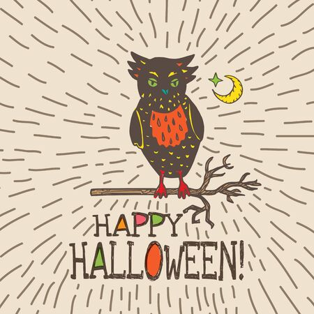 moon  owl  silhouette: Halloween card with hand drawn owl silhouette on moon background. Vector hand drawn illustration on beige background.
