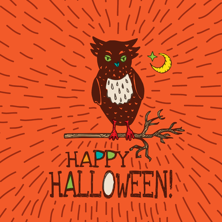 moon  owl  silhouette: Halloween card with hand drawn owl silhouette on moon background. Vector hand drawn illustration on orange background.