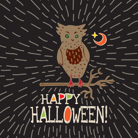 moon  owl  silhouette: Halloween card with hand drawn owl silhouette on moon background. Vector hand drawn illustration on black background.
