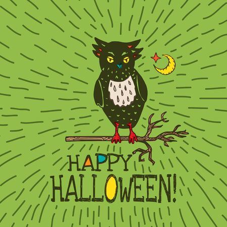 moon  owl  silhouette: Halloween card with hand drawn owl silhouette on moon background. Vector hand drawn illustration on green background.