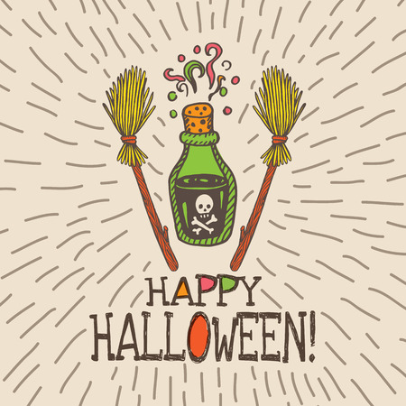 magic potion: Halloween card with hand drawn magic potion bottle and broom on beige background. Vector hand drawn illustration.