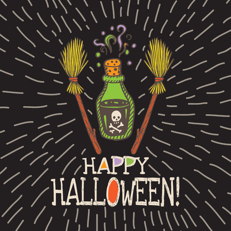 magic potion: Halloween card with hand drawn magic potion bottle and broom on black background. Vector hand drawn illustration.