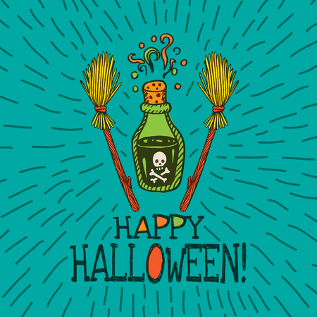 magic potion: Halloween card with hand drawn magic potion bottle and broom on turquoise background. Vector hand drawn illustration.