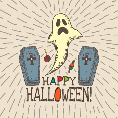 coffins: Halloween card with hand drawn ghost, coffins and candy on beige background. Vector hand drawn illustration.