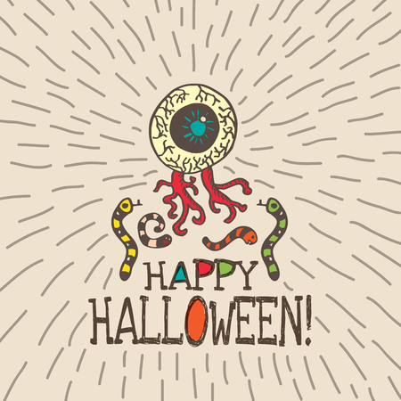 ghastly: Halloween card with hand drawn zombie eye with worms on beige background. Vector hand drawn illustration. Illustration