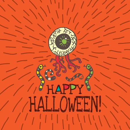 repulsive: Halloween card with hand drawn zombie eye with worms on orange background. Vector hand drawn illustration. Illustration