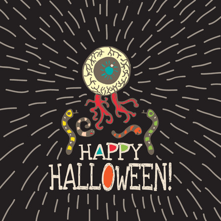 revolting: Halloween card with hand drawn zombie eye with worms on black background. Vector hand drawn illustration.