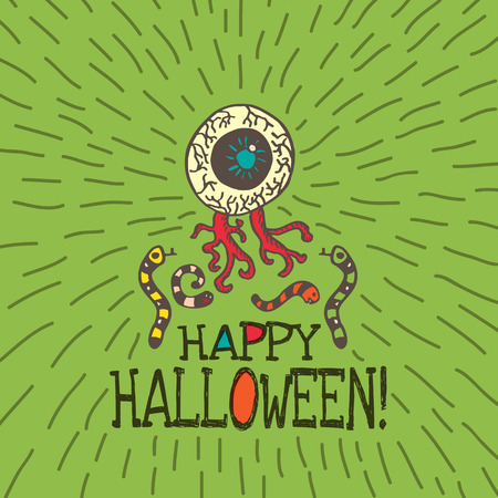 Halloween card with hand drawn zombie eye with worms on green background. Vector hand drawn illustration. Illustration