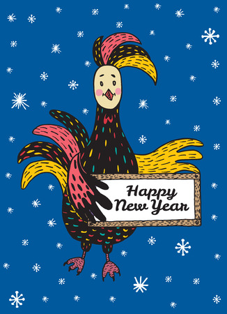 auspicious sign: 2017 Happy New Year greeting card with hand drawn Rooster holding a plate. Vector hand drawn illustration of Rooster on dark blue background.