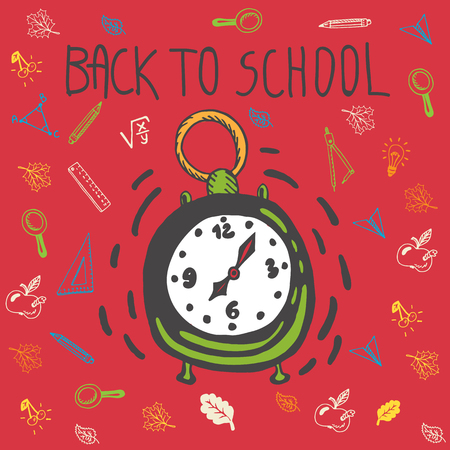 paper spell: Back to school hand drawn doodle card with alarm clock and other school facilities. The alarm clock on red background Illustration