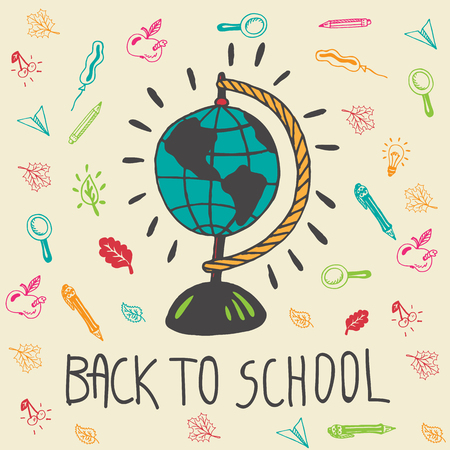 geography background: Back to school hand drawn doodle card with geography globe and other school facilities. The school globe on beige background