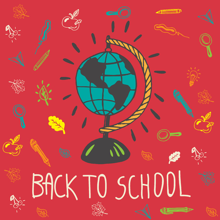 geography background: Back to school hand drawn doodle card with geography globe and other school facilities. The school globe on red background