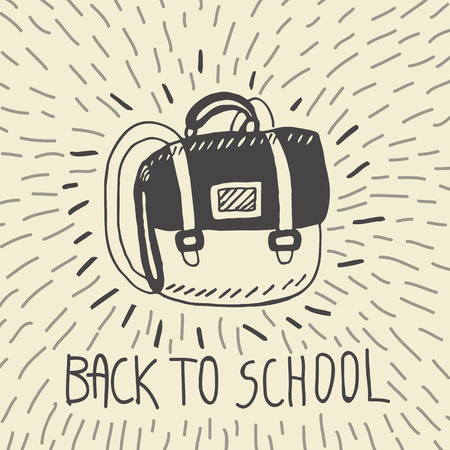 schoolbag: Back to school hand drawn doodle card with schoolbag. The schoolbag on beige background