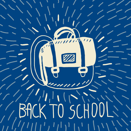 schoolbag: Back to school hand drawn doodle card with schoolbag. The schoolbag on blue background