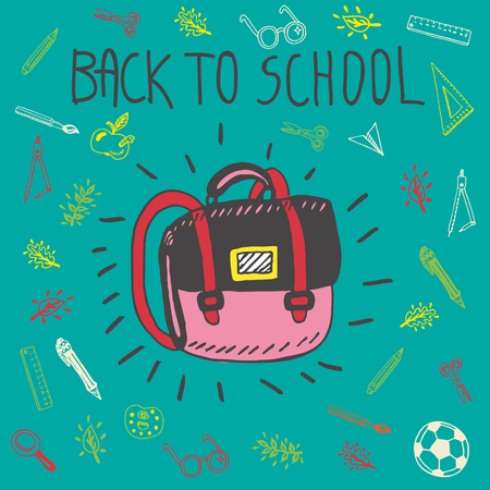 schoolbag: Back to school hand drawn doodle card with schoolbag and other school facilities. The schoolbag on blue background