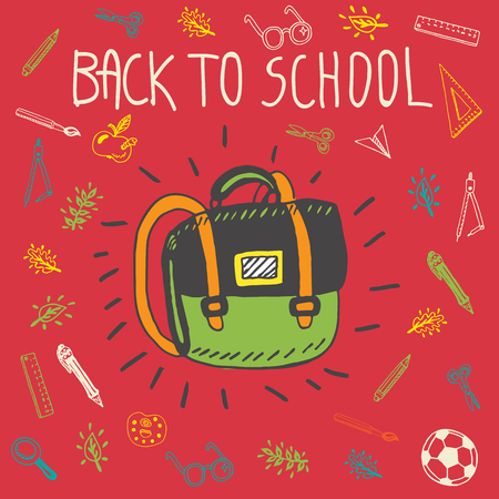 schoolbag: Back to school hand drawn doodle card with schoolbag and other school facilities. The schoolbag on red background Illustration