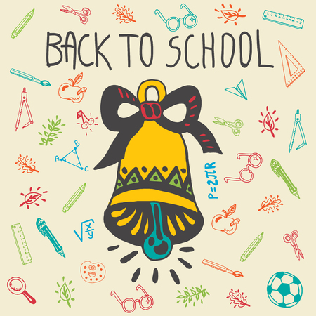 paper spell: Back to school hand drawn doodle card with school bell and other school facilities. The school bell on beige background