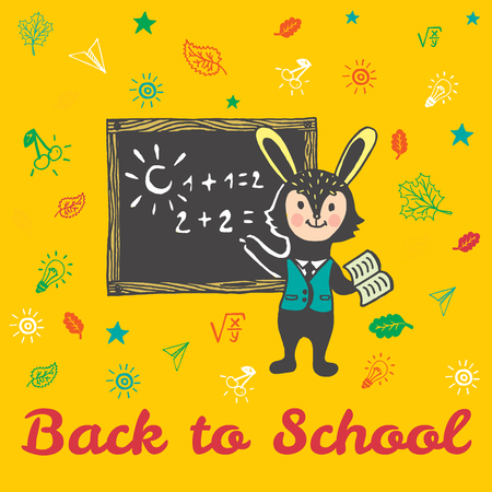 explaining: Back to school hand drawn doodle card with Bunny student. The Bunny student standing in front of a blackboard on yellow background