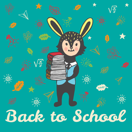 rabbit standing: Back to school hand drawn doodle card with Bunny student. The Bunny student holding a stack of books on blue background Illustration