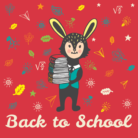 Back to school hand drawn doodle card with Bunny student. The Bunny student holding a stack of books on red background
