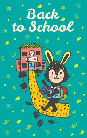Back to school hand drawn doodle card with Bunny student. Bunny student going to school on blue background