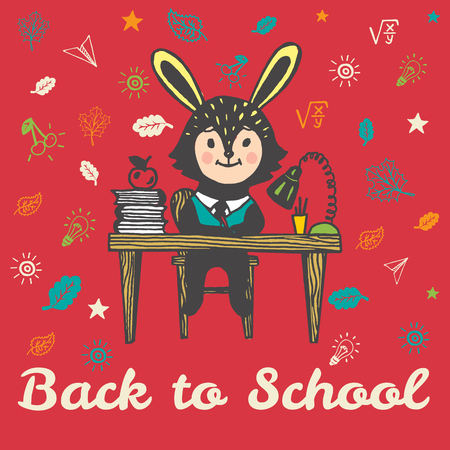 Back to school hand drawn doodle card with Bunny student. The Bunny student sitting at desk with books on red background Illustration