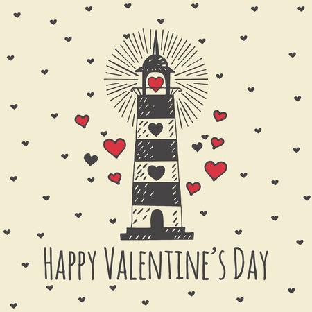 Valentijnsdag kaart met geïllustreerde vuurtoren. Vector geïllustreerd kleurrijke vuurtoren met hart op beige achtergrond. Stock Illustratie