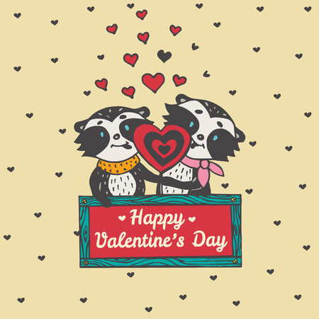 licking: Valentines Day card with illustrated raccoon couple licking heart lollipop. Vector illustrated colorful raccoon couple on beige background.
