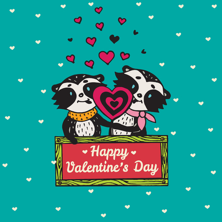 licking: Valentines Day card with illustrated raccoon couple licking heart lollipop. Vector illustrated colorful raccoon couple on blue background.