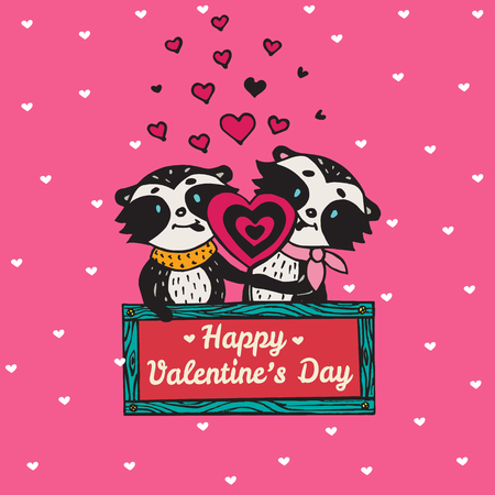licking: Valentines Day card with illustrated raccoon couple licking heart lollipop. Vector illustrated colorful raccoon couple on pink background. Illustration