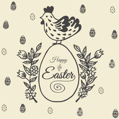 Fröhliche Osterkarte mit Hühnchen und Ei. Vektor-Illustration von Ostern ornamentale Karte mit Huhn auf beige Hintergrund. Standard-Bild - 63520237