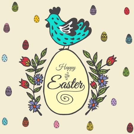 Fröhliche Osterkarte mit Hühnchen und Ei. Vektor-Illustration von Ostern ornamentale Karte mit Huhn auf beige Hintergrund. Standard-Bild - 63520239