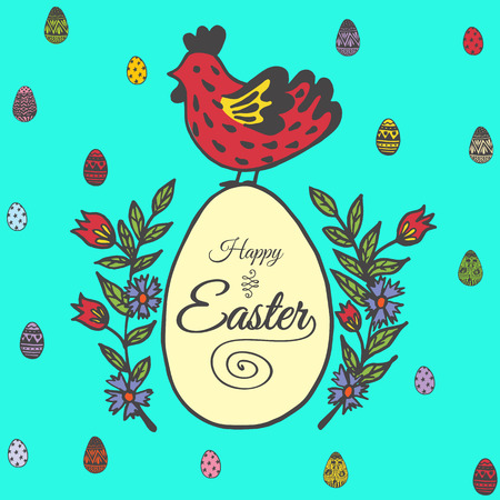 Happy Easter card with chicken and egg. Vector illustration of Easter ornamental card with chicken on blue background. Illustration