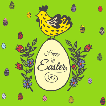 Happy Easter card with chicken and egg. Vector illustration of Easter ornamental card with chicken on green background.