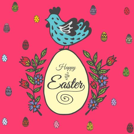 Glückliche Ostern-Karte mit Huhn und Ei. Vector Illustration der dekorativen Karte Ostern mit Huhn auf rotem Hintergrund. Standard-Bild - 63520242